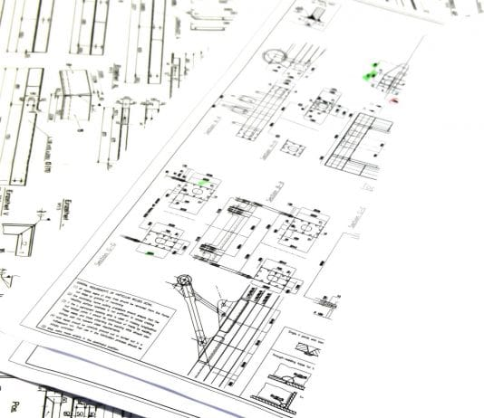 image with enginnering drafting and charts