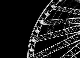 alt= black and white, ferris wheel