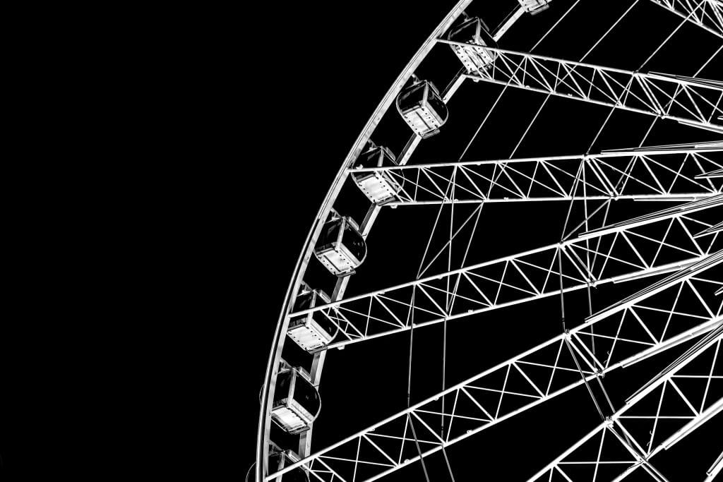 alt= black and white, ferris wheel