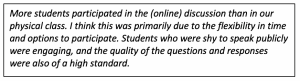 "pull quote ""more students participated in the online discussion than in our physical class."""